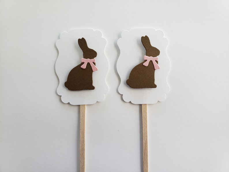 Brown and White Set of 6 Birthday Parties Baby Showers Easter Parties Bunny Cupcake Toppers