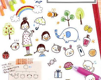 Petit Cute Ballpoint Pen Illustration Bookby Kamo - Japanese Craft Book