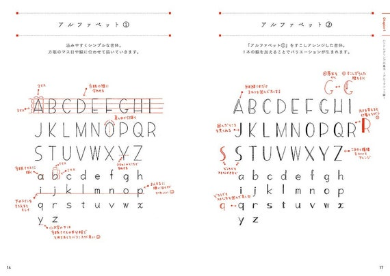 Japanese Craft Book Easy Hand Lettering with Grid Lines by 88necoco