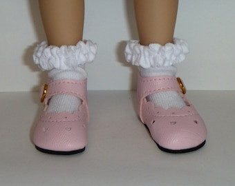 Effner Little Darling Doll Brand New Pink Heart Shoes With Whipped Cream White socks By TnTCreations