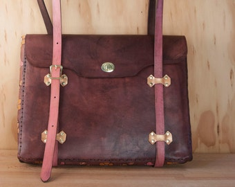 Handmade Leather Laptop Bag - Meadow Pattern with Bees and Flowers in Pink, Gold and Antique Mahogany - Briefcase Style Leather Tote Bag