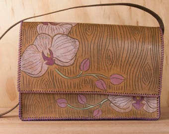 Brown Leather Shoulder Bag - Carved Orchids and woodgrain in Purple, green and antique brown - Magnetic Closure - One of a Kind