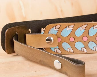 Crossbody Purse Strap - Replacement Shoulder Strap in the Petal Pattern in aqua and antique brown - Guitar Strap Purse Strap