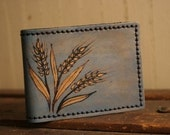 Wild Wheat Wallet - Leather in Gold and Blue