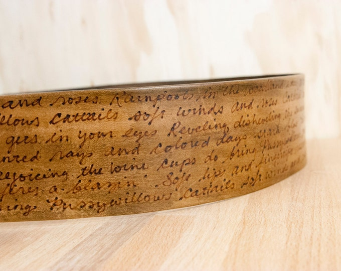 Custom Guitar Strap - Leather in Antique Brown with Personalized Inscription - Smokey Pattern - For Acoustic or Electric Guitars