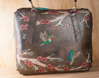 Leather Weekender Bag for Women - Leather Tote, Diaper Bag, Laptop, Oversize Purse - May pattern with Hummingbirds and Cherry Blossoms