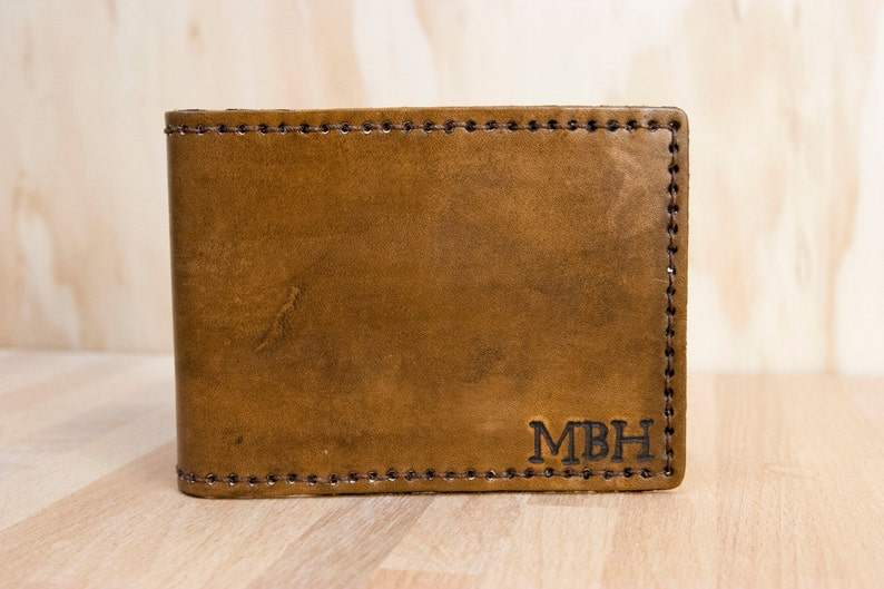 Monogram Leather Wallet  Mens Custom Bifold Wallet in antique image 0