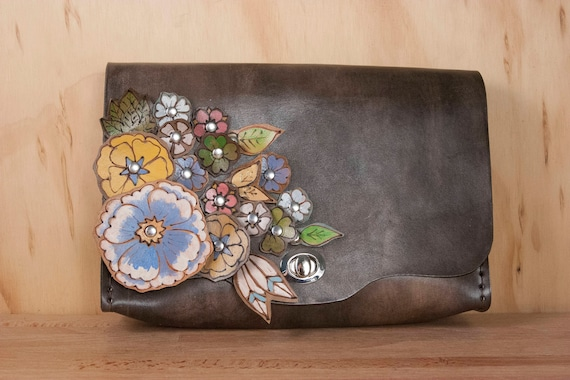 Leather Convertible Clutch in the  Flower Garden Pattern with leather flowers Waist Bag Crossbody or Wristlet Bum Bag Clutch