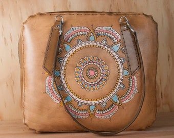 Leather Weekender Bag for Women - Leather Tote, Diaper Bag, Laptop, Oversize Purse - Mandala Pattern in aqua, pink, and antique brown