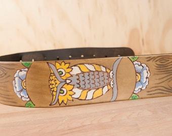 Leather Ukulele Strap - Handmade leather in the Emerson Owl Pattern - Owl Ukulele Strap with wood grain