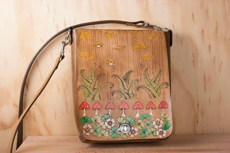 Ronja Pattern toadstools and shamrocks Antique Brown Leather Handbag Crossbody Bag Medium Leather Purse with ferns