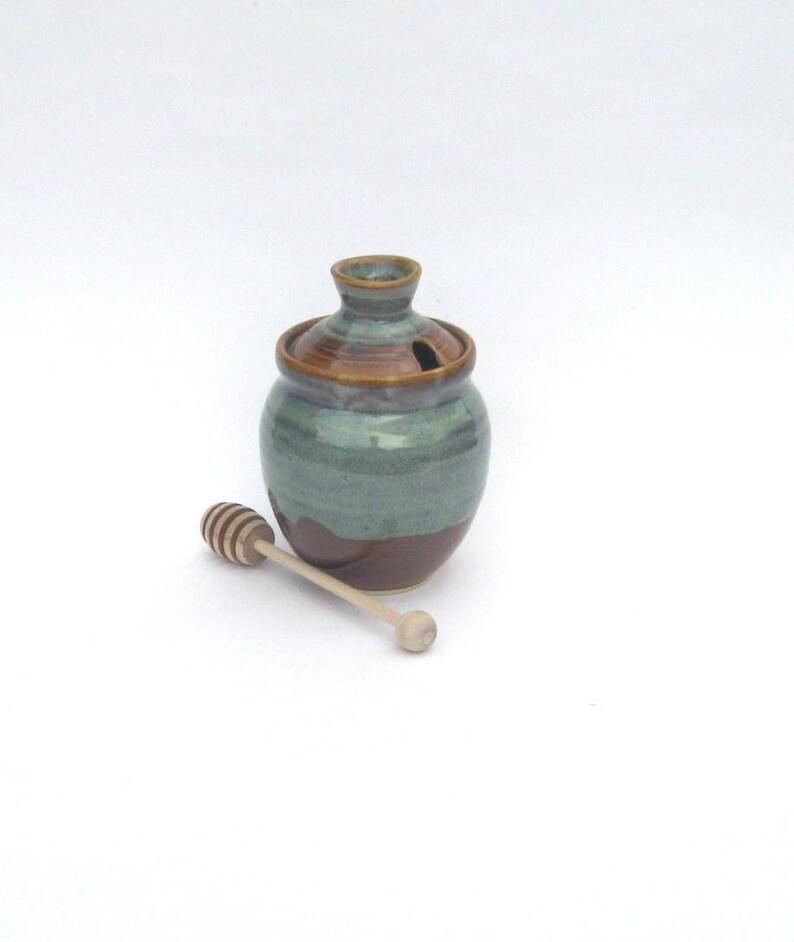 Honey Pot with Dipper  Ponderosa Glaze image 0