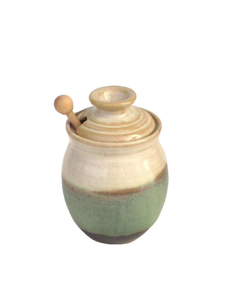 Honey Pot with Dipper  Pistachio Glaze image 0