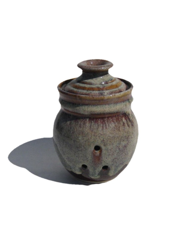 Garlic Keeper Storage Jar  Coffee Latte Glaze image 0