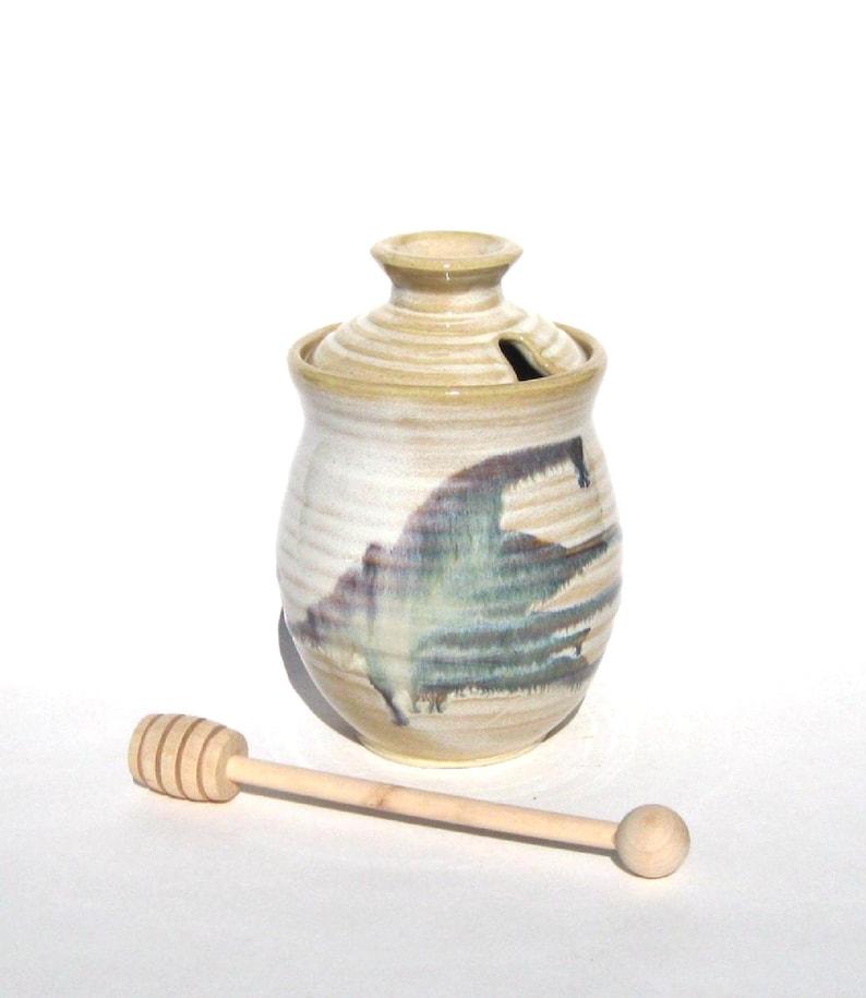 Honey Pot with Dipper  Wild Berry Glaze image 0