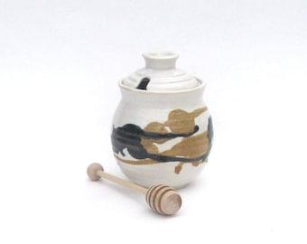 Honey Pot with Dipper - Calico Glaze