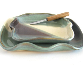 Cheese and Cracker Set - Harlequin Glaze