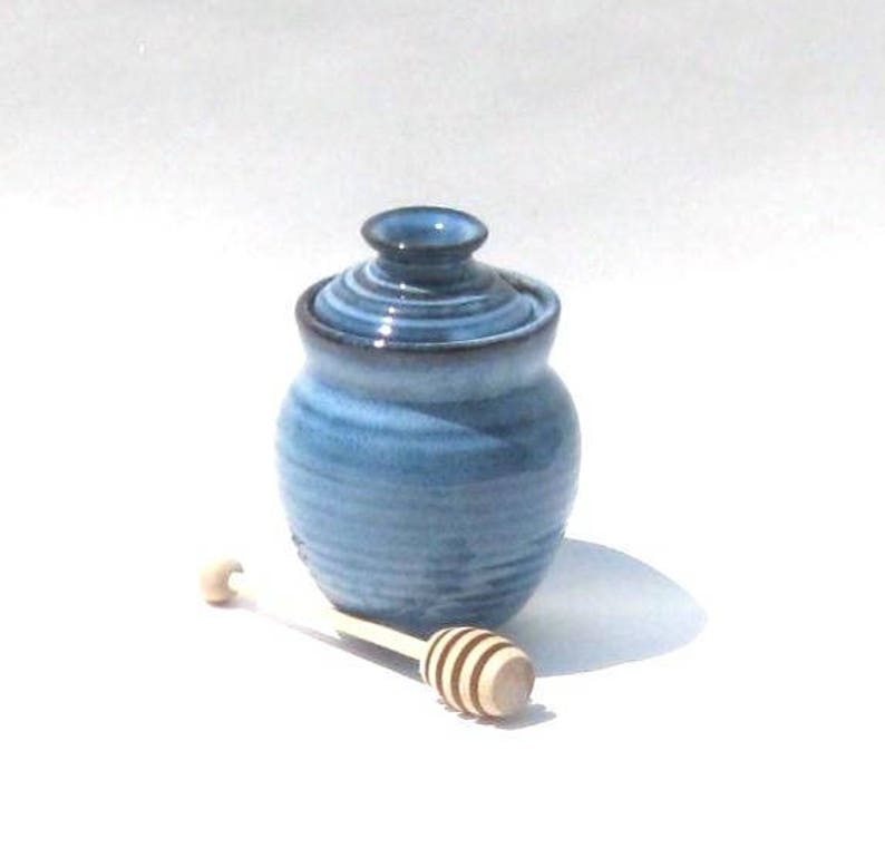 Honey Pot with Dipper  Pacifica Blue Glaze image 0