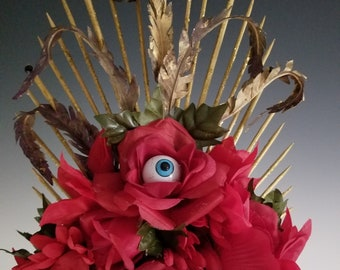 Surreal Night in the Garden - Frida Kahlo - Dia de los Muertos, Day of the Dead Headpiece, Headdress - One-of-a-kind - Red Roses with Eye