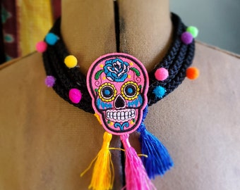 Sugar Skull Pom Pom Lightweight Fabric Necklace