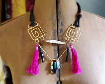 Mayan Spiral Necklace / Gold with Magenta Pink Tassels