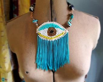 Beaded Fringe Third Eye Necklace : Turquoise, Gold, Black + White