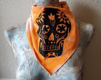 Sugar Skull Bandana. Face Mask Covering. Silk Screened. One-of-a-kind. Day of the Dead. Halloween Accessory.