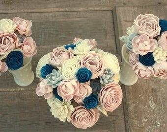 Navy blush bouquet etsy sola flower bouquet brides wedding bouquet navy blue and blush pink wedding flowers dusty rose bouquet eco flowers wood flower bouquet mightylinksfo