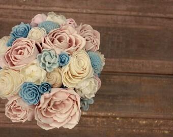 Dusty blue bouquet etsy sola flower bouquet brides wood flower bouquet wooden flowers dusty blue blush pink wedding flowers rustic blue bouquet eco flowers mightylinksfo