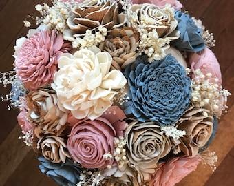 Navy blush bouquet etsy sola flower bouquet brides wedding bouquet dusty blue and blush pink wedding flowers dusty rose bouquet eco flowers wood flower bouquet mightylinksfo