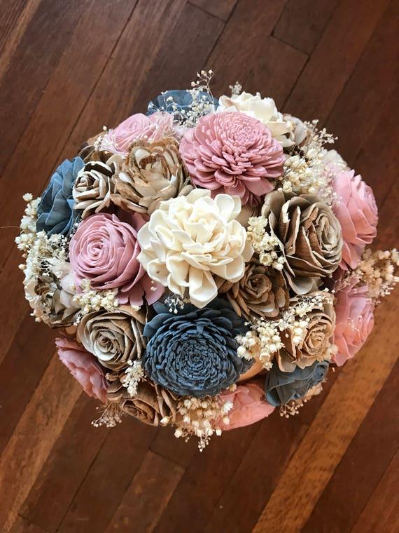 wooden flowers blush pink wedding flowers brides wood flower bouquet Sola flower bouquet dusty blue eco flowers rustic blue bouquet