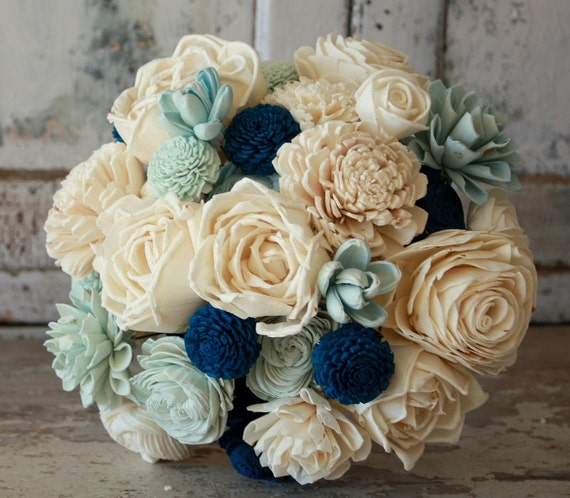 Sola flower bouquet brides wedding bouquet navy blue wedding etsy image 0 mightylinksfo