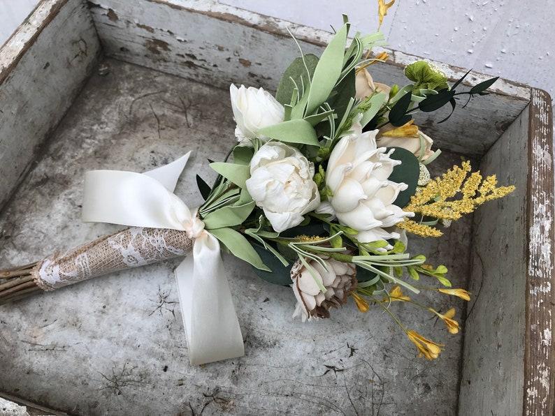 wooden flowers fall wedding bouquet Wood flower bouquet Neutral wedding flowers champagne gold bridal bouquet sola wood flowers