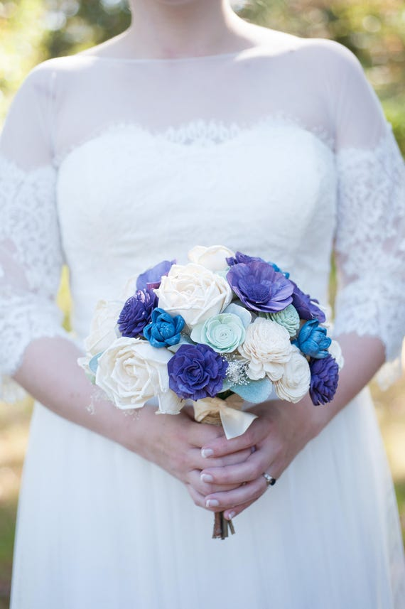 Sola wooden flower bouquet navy and plum sola wood flowers