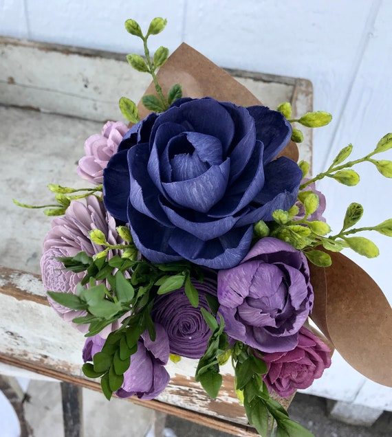 Purple and Mauve AS IS Wood Sola Flowers Wedding Bouquet Ready to Ship Sola Wood Elopement