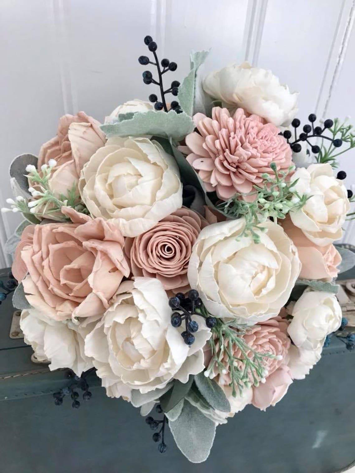 Sola flower bouquet blush pink sola wood flower wedding image 0