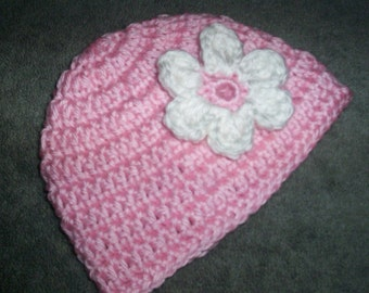 Baby Girl Hat Pink Newborn with flower