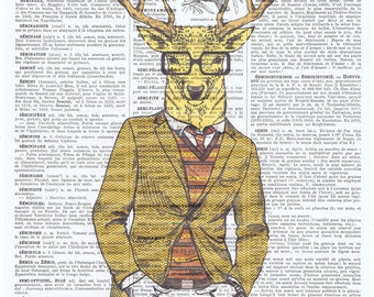 Hipster.Deer.Antlers.Glasses.Cool.antique book page print.stylish.paris.french.gift.suit.nursery.den.home deco.art.eco.boyfriend.fahionista