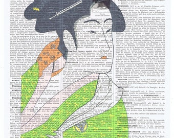 Geisha girl.asian.green.Birthday Gift,Antique Book Page Print. buy 3 get 1 FREE.christmas.japanese.vintage.french.paris.kimono.asiatique.art