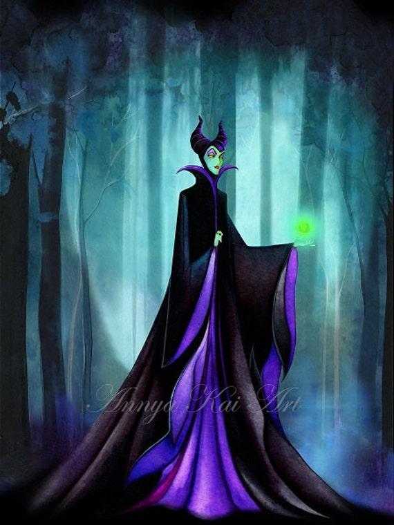 Disney Wall Art Maleficent Dark Fantasy Wall Art Disney Sleeping Beauty Evil Queen Painting Print By Annya Kai