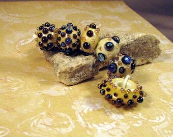 Artisan Lampwork Beads by Monaslampwork on Etsy - Blue Opals - Mona Sullivan Organic Boho  Bohemian Artisan Lampwork Glass Beads (8115)