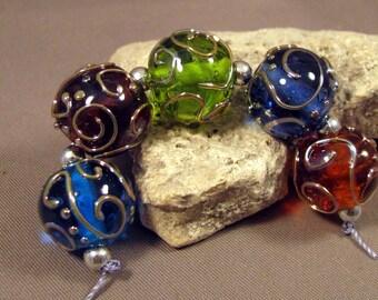 Handmade Lampwork Beads by Monaslampwork on Etsy-Pretty Scrolls Transparent Bases-Artisan Lampwork Glass Beads Mona Sullivan Organic (4348)