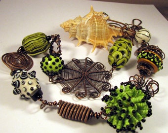 Handmade Artisan Necklace with Lampwork Beads, Forged Wire, Woven Copper Wire, Clay, and Seed Beaded Necklace by Monaslampwork on Etsy(7219)