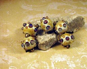 Artisan Lampwork Beads by Monaslampwork on Etsy - Opals and Ivory - Artisan beads by Mona Sullivan Bohemian Gypsy Lampwork Glass (8154)