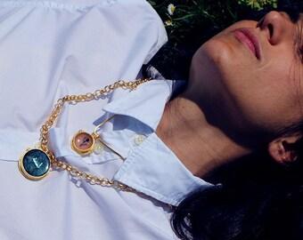 Collier médaillon phoenix 3/bleu, série asphalt, fabriqué en Italie, bijoux italien