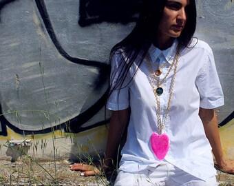 Collier coeur rose, série asphalt, fabriqué en Italie, bijoux italien
