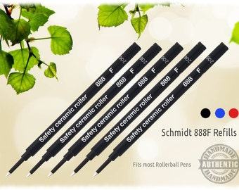 5 Pack - Schmidt 888 F Safety Ceramic Roller Ball Ink Refills -  for most Etsy Rollerball Pens - Ships FREE in Canada