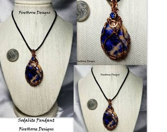 Handmade Wirewrapped Sodalite Pendant Necklace by FireHorse Designs of Texas