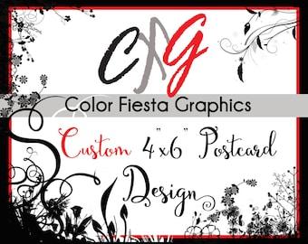 "Custom Postcard notecard invitation design 4""X6"" - plus a round of edits - custom wedding suite RSVP card design holiday photo save the date"