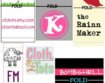 Custom Fabric Clothing Label design - w fold set-up one round of edits - damask woven clothes dress sew hang tag professional graphic design